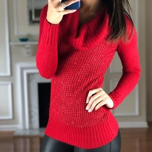BCX Red Turtle Neck Sweater, Sparkly, XS